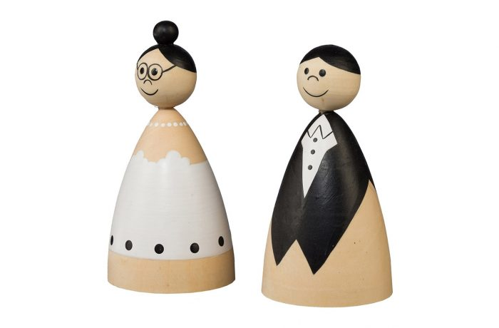 Wooden couple cones